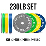 Color Bumper Plate Sets/Virgin Rubber w/Steel Insert/Low Odor + Dead Bounce/Crosffit, Olympic Weightlifting, Strength Training Equipment (230)