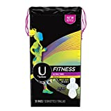 U By Kotex Fitness Ultra Thin Pads with Wings, Regular-Unscented, 30-Count