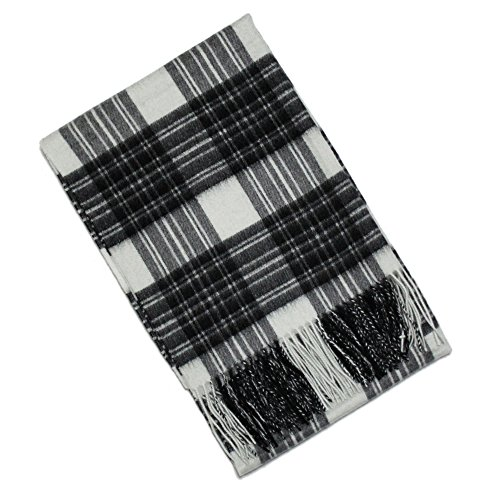 BUYER Men's Cashmere Large Size Tartan Scarf One Size Grey Dress Stewart