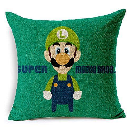 Chicozy Super Mario Luigi Mushroom Corpse Flower Pillow Covers Car Bed Sofa Cushion Cover Throw Pillow Square Cotton Linen Pillowcase Decorative Sofa Pillow case 18 inch 45cm x 45cm -