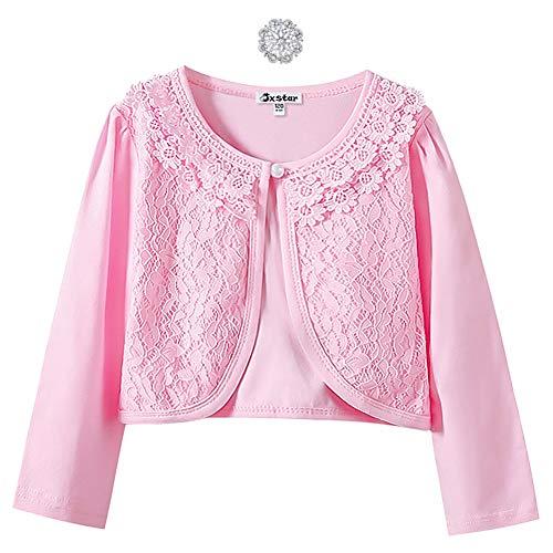 Lace Bolero Long Sleeve Shrugs for Big Girls Party Church Cardigan Birthday Gift Pink (Cardigan Pink Girls Sweater)
