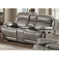 Christies Home Living Estella Reclining Love Leather Seat, Gray