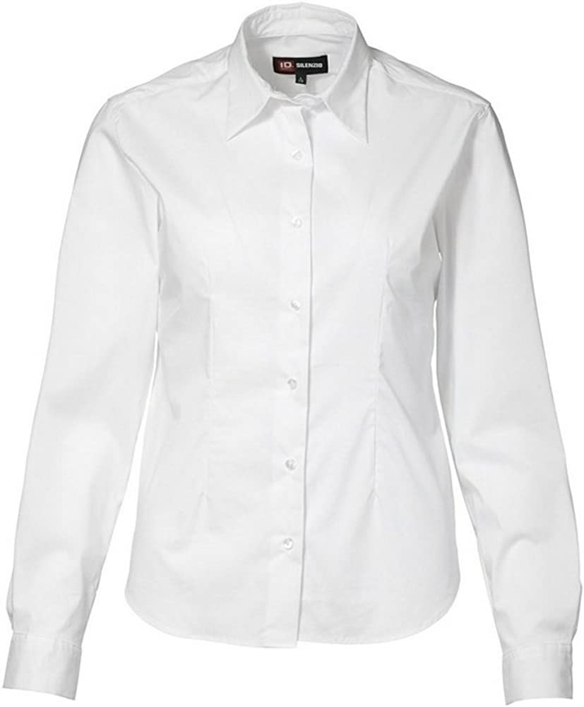 ID - Camisa elástica de Manga Larga Ajustado Medio Modelo Stretch para Mujer señora (2XL/Blanco): Amazon.es: Ropa y accesorios