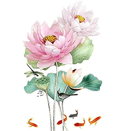 Amazoncom Sykdybz Chinese Style Lotus Flower 3d Wallpaper Wall