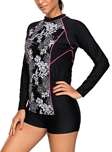 Asvivid Women's Sporty Long Sleeve 2 Pcs Rashguard Surfing Suit Sun Protection Racing Swimmear X-Large - Womens Suits Diving