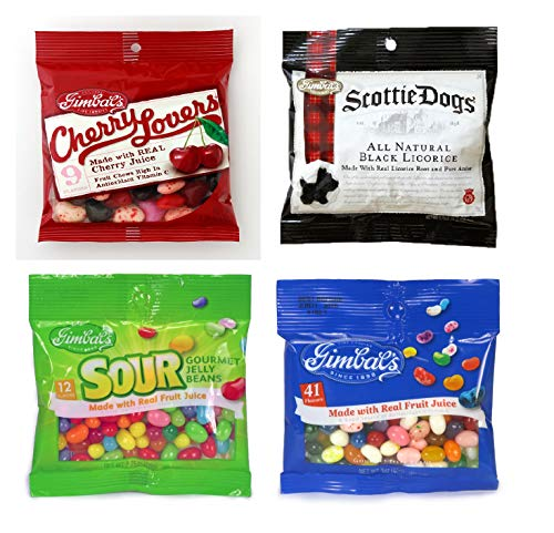 Gimbal's 4 Pack Variety Gift Set - Gourmet Jelly Beans, Sour Gourmet Jelly Beans, Cherry Lovers Fruit Chews, Scottie Dogs Black Licorice