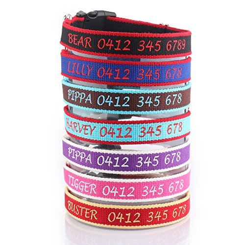 Bamboo Personalized Dog Collar with Names Embroidered, Customize Dog ID Collar w/Pet Name & Phone Number,Lightweight and Comfortable for Boy & Girl Dogs