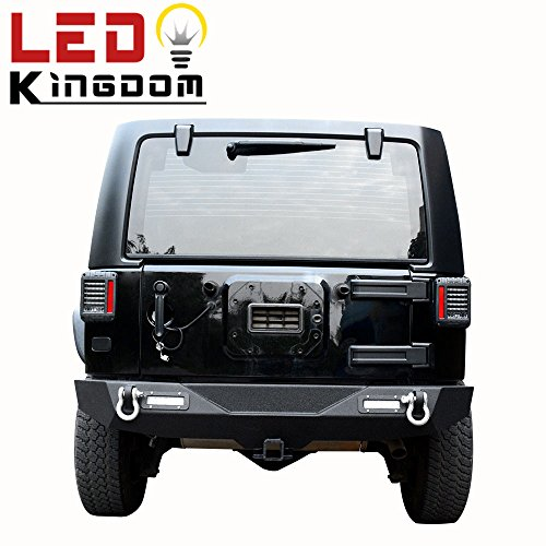 LEDKINGDOMUS 07-18 Jeep Wrangler JK Textured Black Rear Bumper with 2x LED Lights & 2