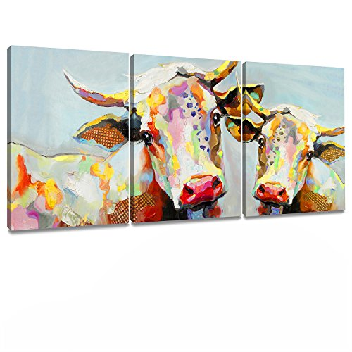 Decor MI Colorful Cow Painting on Canvas Wall Art Wall Decoration Modern Artwork Stretched and Framed Ready to Hang for Living Room 12''x16'' 3 Piece