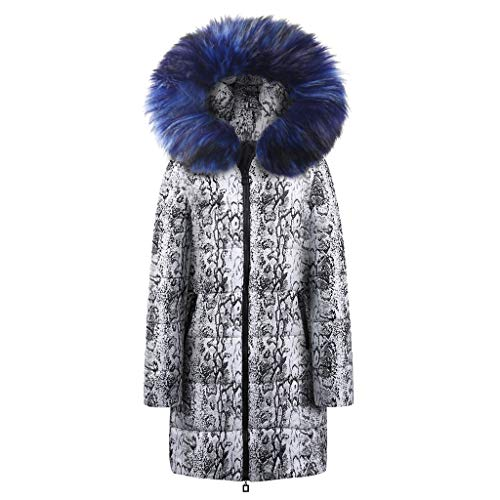 TnaIolr Womens Winter Long Down Cotton Snake Print Parka Hooded Coat Jacket Outwear