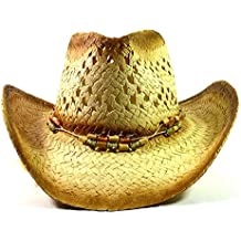 Western Cowboy Straw Hats Fashion - Multicolored Beads & String