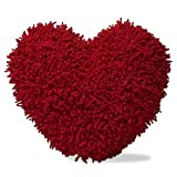 Tag - Shaggy Chenille Heart-Shaped Pillow, A Perfect Gift for Your Valentine, Red