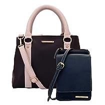 Lapis O Lupo Combo Hazel Women Handbag and Mobile Sling Bag (BrownBlu