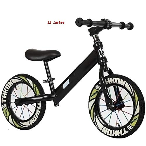 YUMEIGE Balance Bikes No Pedals Training Bicycle - Inflatable Wheel Aluminum Alloy Lightweight Frame,Balance Bike - Seat Can Be Adjusted,Kids' Balance Bikes - 4 Colors (Color : Black, Size : 12in)