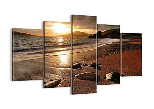Sunset Beach Canvas Art Print - 5 Piece - beach home wall art decor
