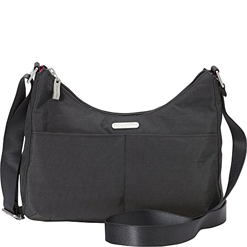 baggallini RFID Harmony Medium Hobo Crossbody Commuter Bag - (Charcoal/Fuschia)