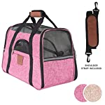 Lux By FrontPet Airline Approved Pet Carrier With Faux Leather Accents and Memory Foam Fleece Insert (Pink)