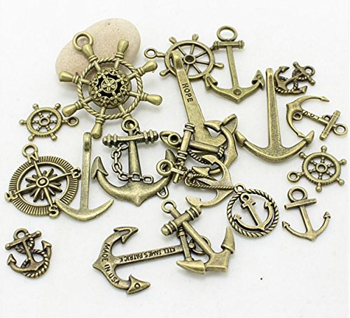 38-PC-Nautical-Anchor-Charm-Pendant-Random-Mix-Lot-Sailor-Navy-Jewelry-Making-DIY