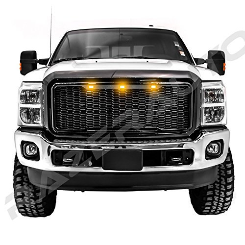 08-10 Ford Super Duty Raptor Style Chrome Package Mesh Grille+Shell+Amber 3x LED
