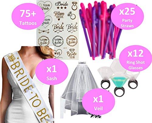 Bachelorette Party Supplies Accessories and Decorations Kit Includes; 1 Bachelorette Veil, 1 Bachelorette Sash, 75+ Metallic Bachelorette Tattoos, 12 Plastic Wedding Ring Shot Glasses, 25 Party Straws