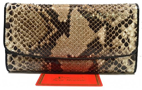 Authentic Snake Skin Women's Clutch Trifold Purse Python Leather Natural Beige&White Wallet