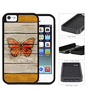 Orange Butterfly on Brown Wooden Pattern with Orange Stripes iPhone 5 5s 2-piece Dual Layer High Impact Black Silicone Cover