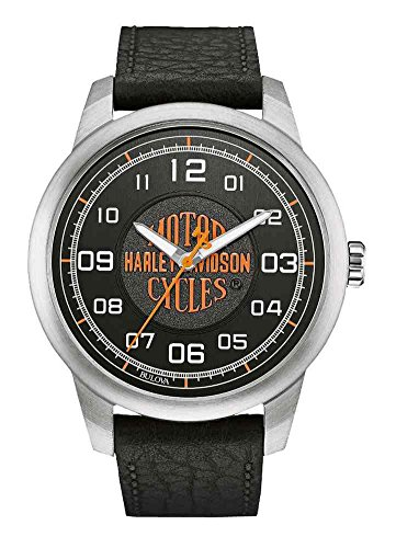 Harley-Davidson Men's Bar & Shield Script Watch, Stainless Steel/Leather 76A155