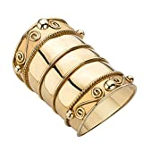 18K Yellow Gold over Sterling Silver Bohemian Wide Cigar Band Scroll Ring