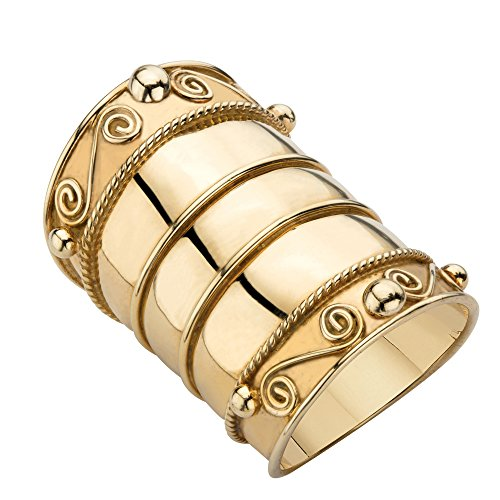 (18K Yellow Gold over Sterling Silver Bohemian Wide Cigar Band Scroll Ring Size 6)