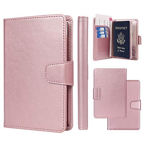 Passport Holder Cover Case Minimalist RFID Blocking Travel Passport Wallet Document Organizer-Rose Gold
