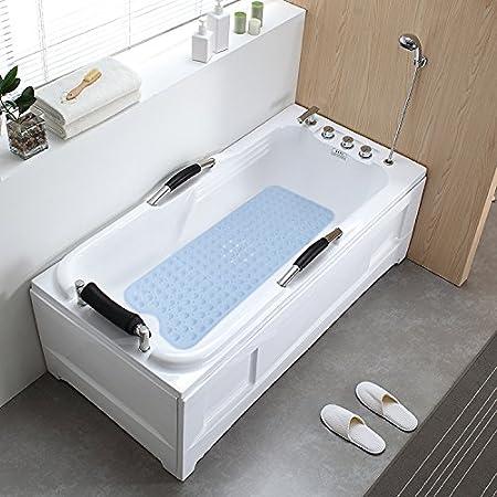 100x40cm Environnementale TPR Tapis de baignoire en caoutchouc Massage de bain et douche avec ventouse 100*40/cm Smaluck Tapis de bain antid/érapant Green