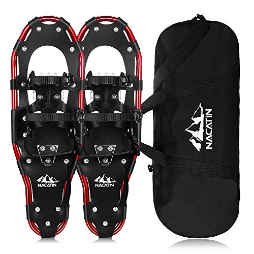 """NACATIN All Terrain Snowshoes Lightweight Aluminum Alloy Snow Shoes with Carry Bag and Adjustable Ratchet Bindings, Capacity, 21""""/25""""/30"""""""