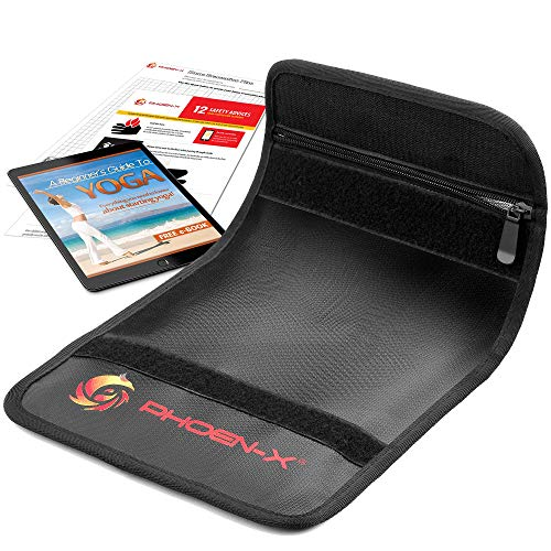 Multiuse A4 Fireproof Document Bag by Phoen-X | Fire Resistant Money and Jewelry Bag + eBook with Yoga Basics + Fire Safety Advice Plan