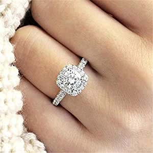 925 Sterling Silver Cushion Black Tourmaline Engagement Ring for Women Mothers Day Gifts Cttw 2.5