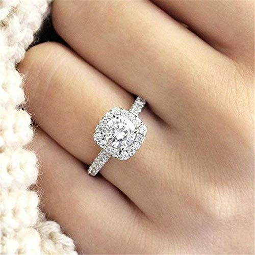 Duan Fashion Ring Cushion Cut 4ct 5A Zircon Stone 925 Sterling Silver Engagement Wedding Band Ring Promise Rings Anniversary Wedding Bands for Women Size 6-10 (US Code 6)