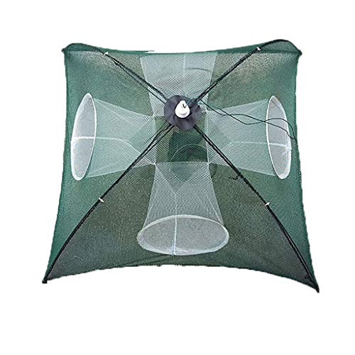 QUICATCH Fishing Net Crawfish Trap Crab Fish TrapFishing Bait Trap Crab Net Crawdad Cast Dip Cage Fish Nylon Foldable Portable Multiple Sizes 1PC (4 Holes)