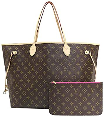 Neverfull Style Canvas Woman Organizer Handbag Monogram Tote Shoulder Fashion Bag MM (Medium) Size with Pivoine Lining by Look At My Bags
