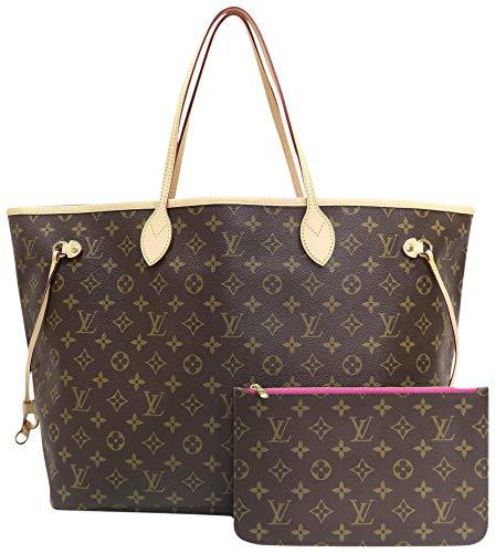 Neverfull Style Canvas Woman Organizer Handbag Monogram Tote Shoulder Fashion Bag MM (Medium) Size with Pivoine Lining by Look At My Bags (Louis Fake Handbags Vuitton)