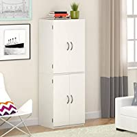 Gracelove Kitchen Pantry Storage Cabinet White 4 Door & Shelves Wood Organizer Furniture , White Stipple