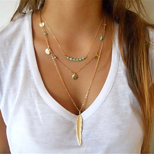 LittleB Layered Necklaces Alloy Feathers Turquoise Boho Necklace Jewelry for women and girls