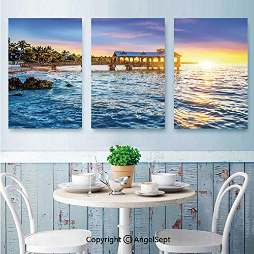 3 Piece Canvas Wall Art,Pier at Beach in Key West Florida USA Tropical Summer Paradise,Framed Furniture Decoration,24