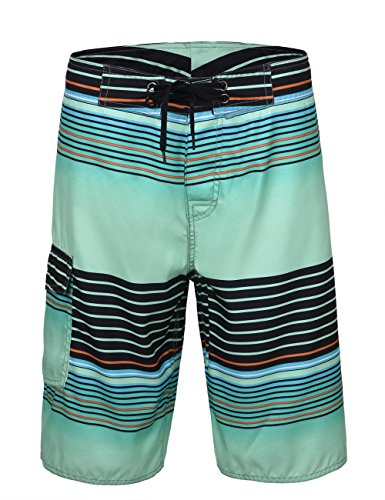 Unitop Men's Bathing Shorts Summer Holiday Striped Surf Trunks Quick Dry Green 42 ()