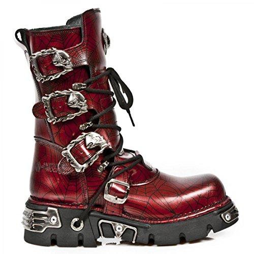 New Rock M.391-S13 Metallisch Herren Leder den roten Matten Red, red
