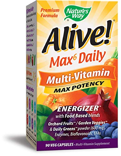 Nature's Way Alive! Whole Food Energizer, Multi-Vitamin with Iron, 90 Veggie Capsules Alive Whole Food Energizer