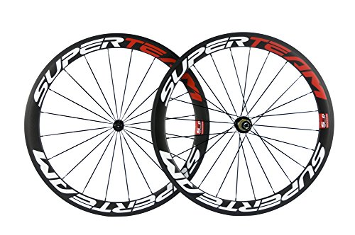 Superteam Carbon Fiber Road Bike Wheels 700C Clincher Wheelset 50mm Matte 23 Width (Red and White Decal) (Carbon Fiber Spokes)