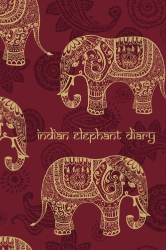 Indian Elephant Diary: 200-Page Blank Book Journal With Decorated Asian Elephants [Red / 6 x 9 Inches] (Decorated Journal)
