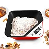 Duronic Kitchen Scale KS100RD 5 KG / 11 LB Red Portable Design Digital Display Tray/Bowl Kitchen Scale (Red) Capacity: 5kg / 11lb