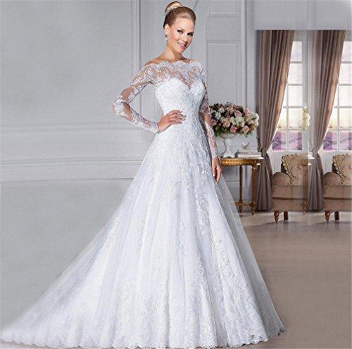 HAPPYMOOD Vestido de novia Vestido de novia Largo Mujer Vestido elegante Material suave Vestido de novia Manga de encaje Vestido de boda: Amazon.es: ...