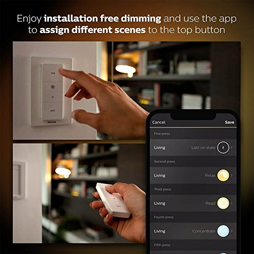 Philips Hue White Ambiance Smart Light Bulb Starter Kit (2 A19 Bulbs, 1 Bridge, and 1 Dimmer Switch, Works with Alexa, Apple HomeKit, and Google Assistant) (Certified Refurbished) by Philips (Image #6)