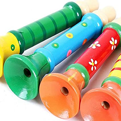 Leisial 1 pcs Multi-Color Baby Kids Wooden Horn Hooter Trumpet Instruments Music Toys Playing Whistle Instruments Infant Early Education